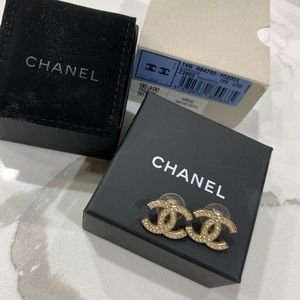 Chanel gold stud earrings